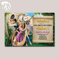 FREE Kids Party Invitations Tangled Party Invitation NEW