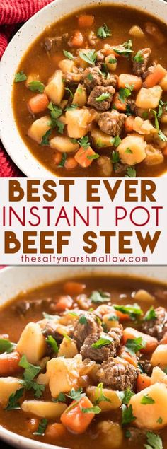 Best Ever Instant Pot Beef Stew - This mouthwatering and easy to make Instant Pot Beef Stew is sure to become one of your favorite ever Instant Pot recipes!  Tender beef is simmered in a super flavorful and hearty broth that's packed with veggies!
