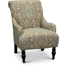 Classic English Cream and Blue Floral Accent Chair - Gotham Floral Accent Chair, Accent Chairs, Big Comfy Chair, Leather Recliner Chair, Swivel Chair, Chair Cushions, Striped Chair, Round Back Dining Chairs, Chairs For Small Spaces