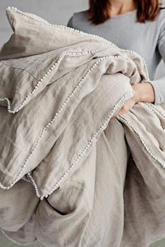 Refresh your bed with our linen duvet cover with decorative pom poms. Stone washed European linen covers for duvets and comforters. Grey Duvet, Linen Duvet, Diy Bed Linen, White Linen Bed, White Duvet Bedding, Striped Linen, Luxury Bedding Sets, Luxury Linens, Cool Beds
