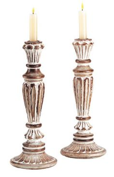 shabby chic white candle holders www.woodthings.com