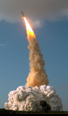 STS-31 lifts off in 1990, carrying the Hubble Space Telescope