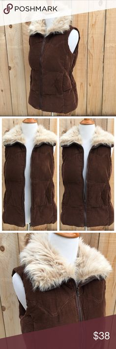 """🆕 Faux Fur Collar Jacket Vest This warm jacket vest is so comfortable. Zip it all the way up the collar or leave it open. The shell is a dark brown Corduroy made with 100% Cotton. Lining & plush fill is 100% Polyester. Measurements are 19"""" pit to pit & 23.5"""" long from shoulder to bottom of vest. In excellent like new condition with NO damage. BB Dakota Jackets & Coats Vests"""