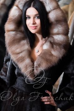 Scanblack Mink Coat with Hood decorated with European Sable - Style 01-1 from Olga Franchuk.