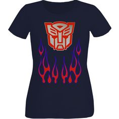 Womans Optimus Prime Transformers T-Shirt ($15) ❤ liked on Polyvore featuring tops, t-shirts, black, women's clothing, logo top, logo tee and logo t shirts