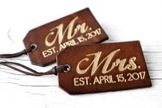 Personalized Luggage Tags Couples Gift Set with Wedding by Exsect