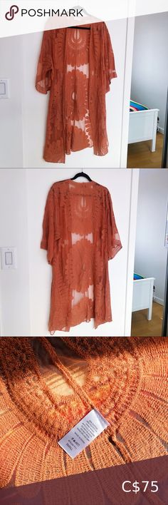 embroidered sheer duster 🌼 Beautiful open-front duster cardigan with embroidered flowers.   Very well-made, high quality garment.  Burnt orange / rust colour.  65% cotton 35% polyester.  NWOT; no flaws.  Looks great styled with Free People, For Love & Lemons, Anthropologie! Style Apparel Sweaters Cardigans Rust Color, Orange Color, Colour, Plus Fashion, Womens Fashion, Fashion Tips, Fashion Trends, For Love And Lemons, Dusters