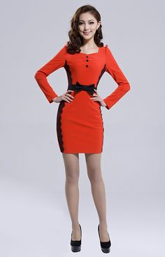 2013 Spring New Authentic OL Commuter Slim Bow Lace Long-Sleeved Dress