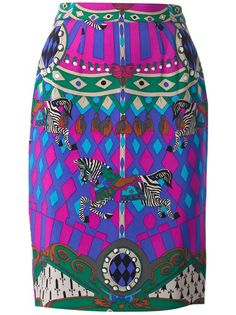 LOUIS FERAUD VINTAGE - printed silk pencil skirt 6