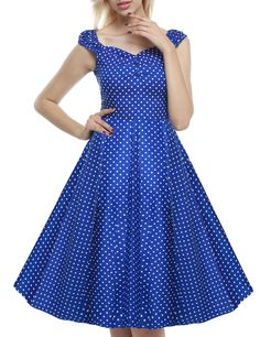 Blue Retro Women 1950s Vintage Style Sleeveless Swing Party Midi Going Out Dresses