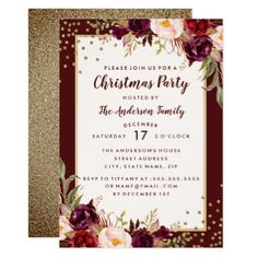 Christmas Party Burgundy Gold Floral Invitation - invitations custom unique diy personalize occasions
