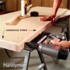 Make a Plastic Laminate Table Top: Attach hardwood edging. Read more: http://www.familyhandyman.com/kitchen/countertops/make-a-plastic-laminate-table-top/view-all