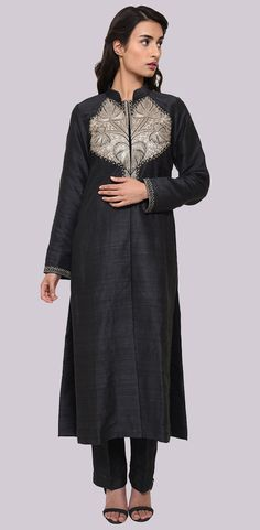 Black Pure Raw Silk Antique Tilla Kashmiri Kashida Jacket Suit