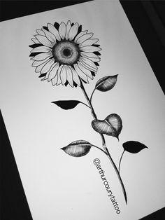Flower, Flor, Sunflower, Girassol  www.instagram.com/arthurcourytattoo