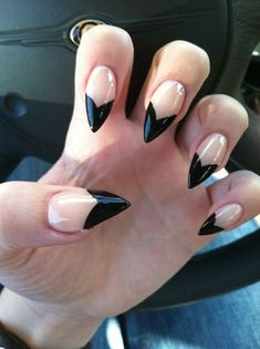 Clear and Black Stiletto Nails fashion nail pretty nail art nail ideas nail designs manicures stiletto nails