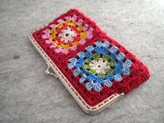 Crochet Purse - Red crochet granny square bag with metalic strap on Etsy, $20.00