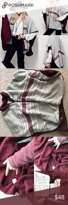 NWT free people Ruana swept away poncho jacket os NWT free people zippered poncho. One size fits most. please see photos for some interior pulling. I have not tried to fix it. I believe it's from being tried on and the zipper getting caught in it too many times. Priced accordingly 🚫NO TRADES Free People Jackets & Coats