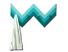 Teal Ombre Chevron Painted Wood Coat or Towel Rack Fence Bling