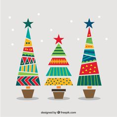 Geometric and colorful christmas trees Free Vector