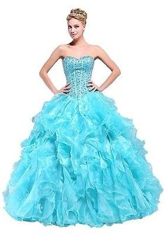 Gorgeous Long Formal Taffeta Blue Ball Gown Ruffles Beading Prom Evening Dresses