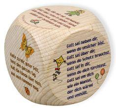 Farbig bedruckte Gebetswürfel aus Buchenholz, mit 6 verschiedenen Gebeten, 5 cm