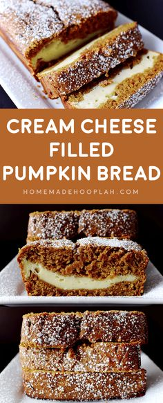 Cream Cheese Filled Pumpkin Bread! A no-fuss recipe for moist and spongy pumpkin bread with a sweet swirl of cream cheese. | HomemadeHooplah.com