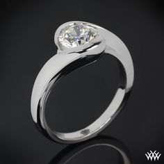 18k White Gold Iris Solitaire Engagement Ring