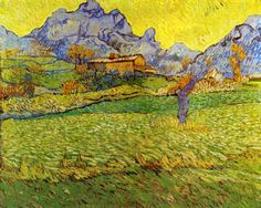 A Meadow in the Mountains: Le Mas de Saint-Paul (also known as 'Wheat Field in a Mountainous Landscape') Vincent van Gogh - 1889 Kröller-Müller Museum - Otterlo (Netherlands) Painting - oil on canvas Height: 73 cm in.), Width: 91 cm in. Vincent Van Gogh, Paul Vincent, Desenhos Van Gogh, Van Gogh Arte, Van Gogh Pinturas, Van Gogh Paintings, Canvas Paintings, Canvas Art, Canvas Prints