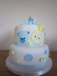 Christening cake oso y conejo