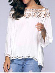 Loose Off-The-Shoulder Crochet Blouse (WHITE,L)   Sammydress.com Mobile