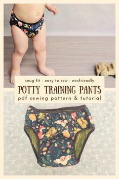 "Time to potty train your toddler? Sewing cloth training pants is easier than you think! With this simple sewing pattern you'll replace disposable pull up diapers with reusable DIY trainers which help your child to feel ""the consequences"" and are gentler t Training Pants Pattern, Cloth Training Pants, Toddler Training Pants, Potty Training Pants, Toddler Pants, Pull Ups Diapers, Cloth Diapers, Sewing For Kids, Baby Sewing"