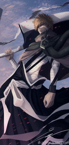 Bleach Anime Art, Bleach Fanart, Bleach Manga, Ichigo Kurosaki Wallpaper, Bleach Ichigo Bankai, Bleach Pictures, Cool Anime Pictures, Bleach Characters, Anime Characters