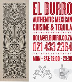 El Burro is Cape Town's premier authentic Mexican restaurant. Inspired by hand painted signage, sugar skulls and Dia de los Muertos pamphlets, the El Burro logo and menu was designed to capture all the best aspects of Mexican popular culture.This design… Restaurant Menu Design, Restaurant Branding, Restaurant Interiors, Creative Illustration, Graphic Illustration, Burritos, Graphic Design Inspiration, Creative Inspiration, Tequila