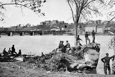 Union soldiers on Virginia side of Potomac facing @Rachel C University on hill, Civil War 1861