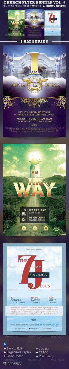 Church Flyer Template Bundle Vol 6 - I Am Series | GraphicRipGraphicRip