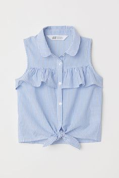 Sleeveless Tie-front Blouse - Light blue white striped - Kids H M US 1 Girls Fashion Clothes, Teen Fashion Outfits, Kids Outfits, Kids Fashion, Cute Outfits, Kids Clothing, Fall Fashion, Baby Dress Design, Frock Design