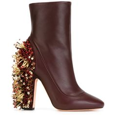 Rochas Beaded Chunky Heel Boots (15 445 ZAR) ❤ liked on Polyvore featuring shoes, boots, heels, red, thick heel boots, heel boots, beaded boots, thick heel shoes and red heel shoes