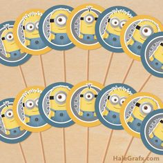 FREE Printable Despicable Me Minions Cupcake Toppers on Wanelo