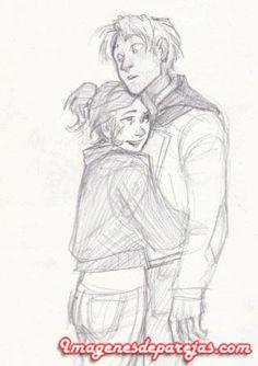 Lindo abrazo de una pareja de enamorados hecho a lapiz