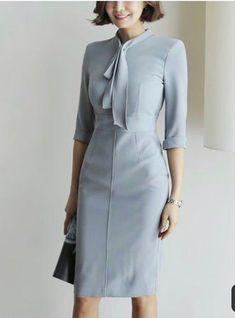 Chicloth Tie-neck Midi Dress Bodycon Work Dress Sleeve Work Slit Plus Size Dresses Vintage Style Dresses, Elegant Dresses, Beautiful Dresses, Casual Dresses, Fashion Dresses, Vintage Outfits, Dress Outfits, Midi Dresses, Sexy Dresses