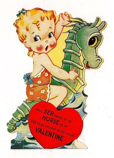 Vintage Valentine Card  - You SEA there is no HORSE play because I want you to be my Valentine - eBay