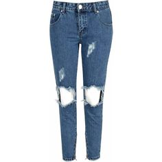 Mid Blue Stone Wash Distressed Jeans (€47) ❤ liked on Polyvore featuring jeans, pants, blue, ripped jeans, distressed jeans, torn boyfriend jeans, blue ripped jeans and boyfriend jeans