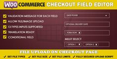 WooCommerce Checkout Field Editor by nmedia82 WooCommerce Checkout Field Editor simple to use WooCommerce extension to control all fields on checkout page. There are three types of field on checkout page:Billing Shipping Order (after order notes)This plugin allow admin to add