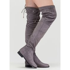 GREY Luck Of The Drawstring Thigh-High Boots (57 CAD) ❤ liked on Polyvore featuring shoes, boots, grey, over-the-knee boots, over knee boots, above-knee boots, grey boots, stretchy boots and side zip boots