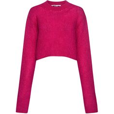 Mcq Alexander Mcqueen - Mohair Extra-long sleeve Cropped Sweater ($340) ❤ liked on Polyvore featuring tops, sweaters, mcq by alexander mcqueen, pink top, long sleeve crop top, pink cropped sweater and pink sweater