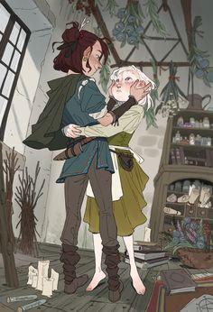 Inimeitiel — Elia and Rebis. Elia is just going hunting don't. Fantasy Character Design, Character Design Inspiration, Character Art, Pretty Art, Cute Art, Comic Artist, Tag Art, Aesthetic Art, Cartoon Art