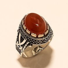 Pearl Natural Gemstone Free Express Shipping İslamic Ring Falcon Jewelry 925 Sterling Silver Men Ring