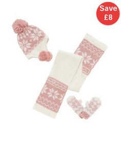 View details of Fairisle Scarf, Trapper hat and Gloves Set