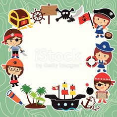 pirates kids layout design royalty-free pirates kids layout design stock vector art & more images of adventure Pirate Birthday, Pirate Theme, Arts And Crafts House, Arts And Crafts Supplies, Free Watercolor Flowers, Pirate Invitations, Invitation Cards, Crafts To Do When Your Bored, Pirate Kids