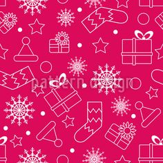 Silhouette of Christmas Things Seamless Vector Pattern Seamless Vector Pattern by Elena Alimpieva at patterndesigns.com